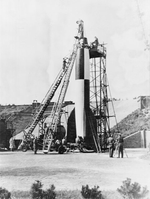 Early Rockets: German technicians stack the various stages of the V-2 rocket