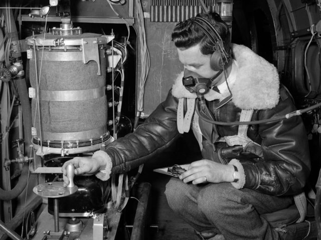 NACA Flight Engineer in a Lockheed RA–29 Hudson