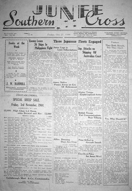 Front page of the Junee Southern Cross newspaper on 27 Oct 1944