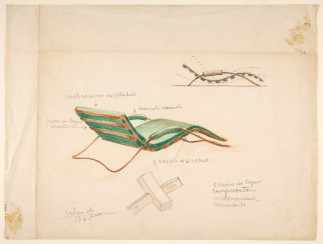 Shais in legno compensato...[Perspective and Elevation of a Chaise with Tubular Metal Frame and Green Cushion and Arm Rests]