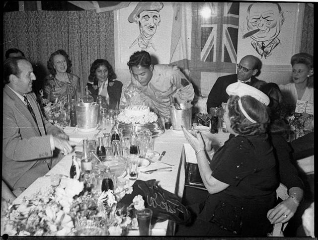 Film star Sabu's 21st birthday, Roosevelt Nightclub, Kings Cross, Sydney, 25 January 1945 / photographer Sam Hood