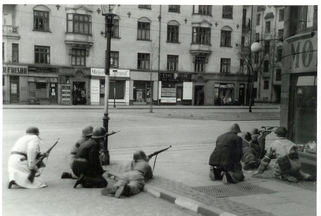 Freedom fighters at Strandboulevarden in Copenhagen. 5th May 1945
