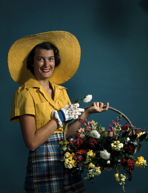 Model with a basket of flowers: Sarasota, Florida
