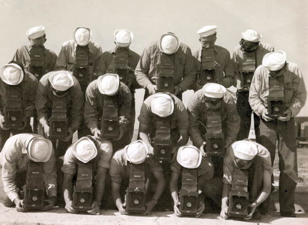 Naval Photography School students with Graflex cameras: Pensacola Naval Air Station