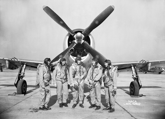 Research pilots with P-47 Thunderbolt Fighter