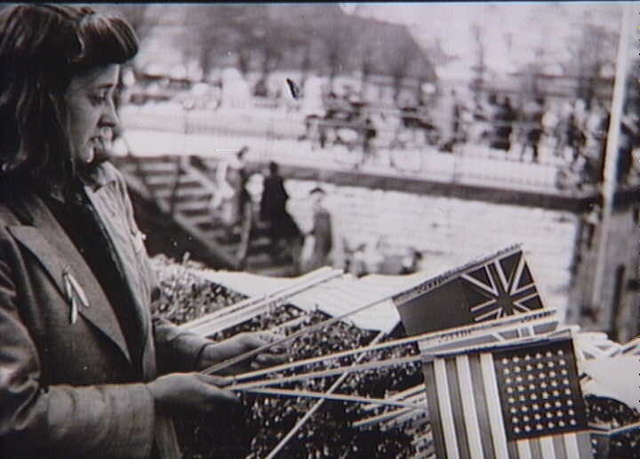 Woman selling flags at Langelinje, Copenhagen. May 1945