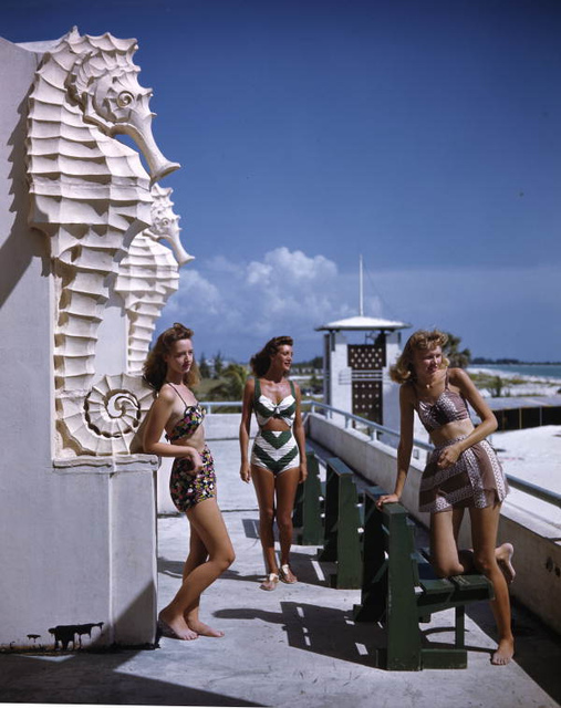 Young women at the municipal casino: Lido Beach, Florida