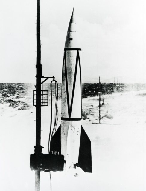 Early Rockets: V-2 rocket takes flight at White Sands, New Mexico, in 1946.