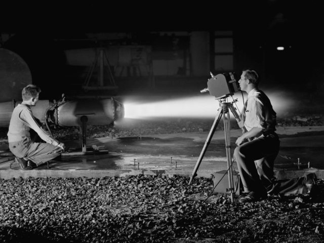 NACA Photographer Films a Ramjet Test