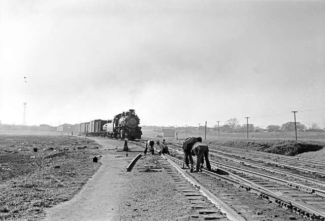 [Section Crew Performing Track Maintenance, Locomotive 494, Texas & Pacific Railway Company]