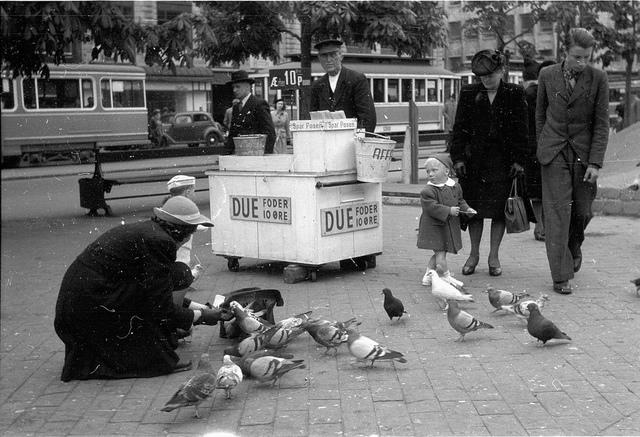 Woman and children feading pigeons in Copenhagen in 1946