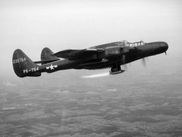 Northrop P-61 Black Widow Flight Testing a Ramjet