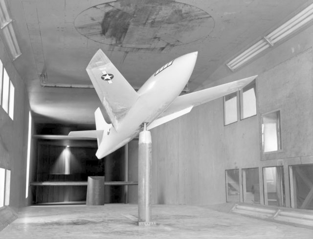 Bell X-1 Research Model on Single Support Strut in 7 x 10 Foot Wind Tunnel