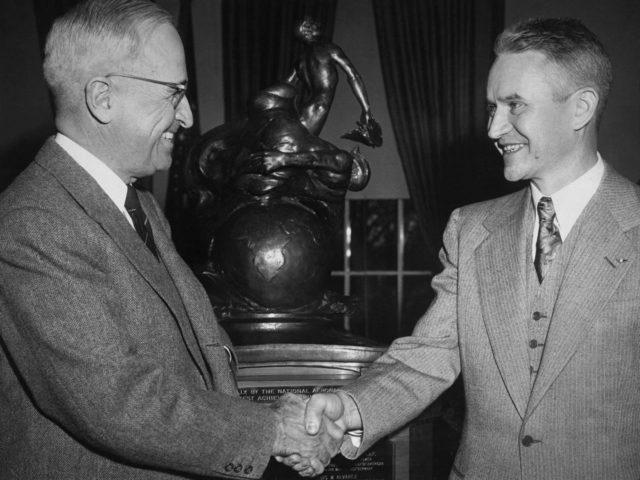 Lewis Rodert Receiving a Collier Trophy from President Truman