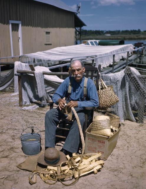 Basket maker Moses Pinder at work in Tarpon Springs, Florida
