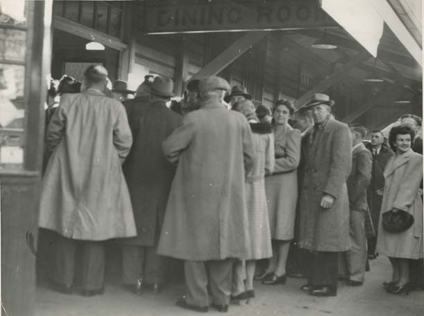 Crowd at the Coffs Harbour Railway Refreshment Room, 1947