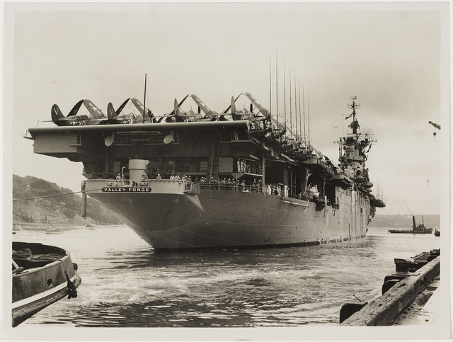 Aircraft carrier USS Valley Forge, Sydney Harbour, 1948 / photographer Ted Hood