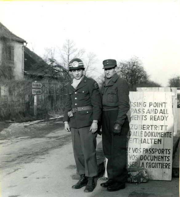 Checkpoint between the French and the American sectors in Germany 1948