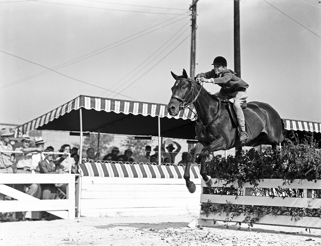 [Contestant in Mid-Jump, Hunter Jumper Event, Pin Oak Charity Horse Show]