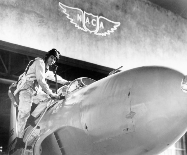 Lawrence Clousing with a Lockheed P-80