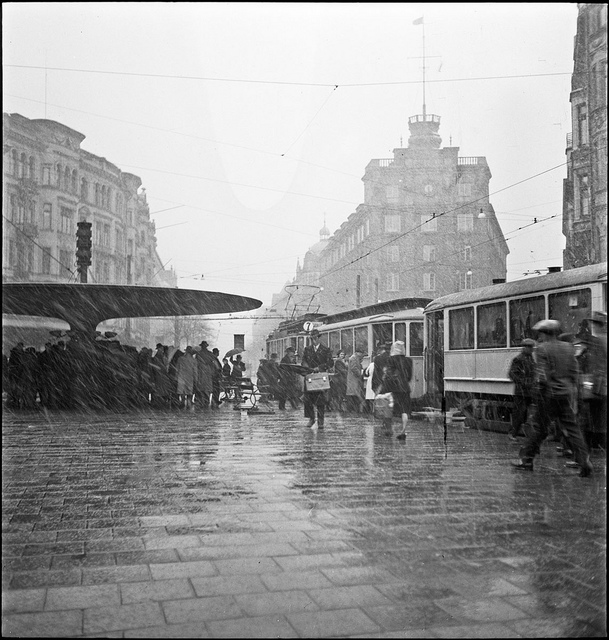 Melting snow at Stureplan in Stockholm 1948