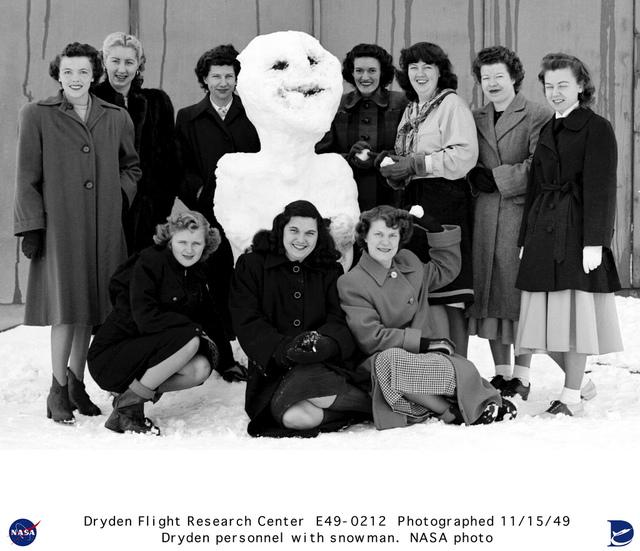 NACA Muroc Employees With a Snowman
