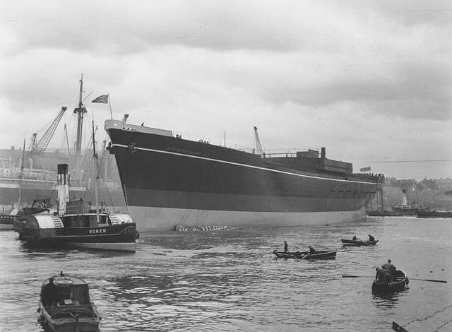 The cargo ship 'Eastern Glory' after launch