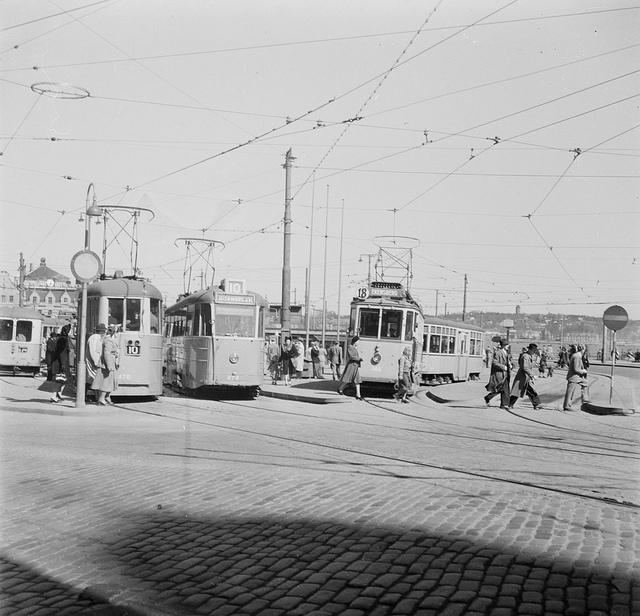 Tram on Södermalmstorg in Stockholm 1949
