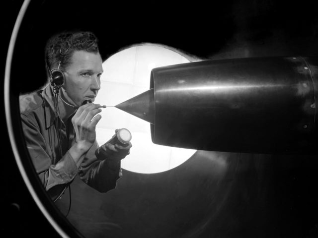 NACA Technician Cleans a Ramjet in 8- by 6-Foot Supersonic Wind Tunnel
