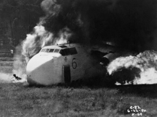 NACA Study of Crash Fires with a Fairchild C-82 Packet