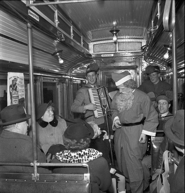 Santa Claus at a tram in Stockholm 1950