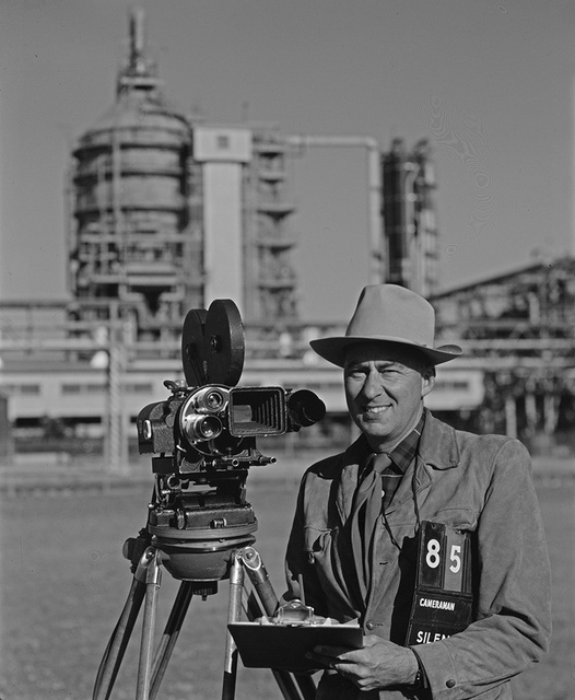 Robert Yarnall Richie with Mitchell Camera, Houston, Texas, at Shell Refinery