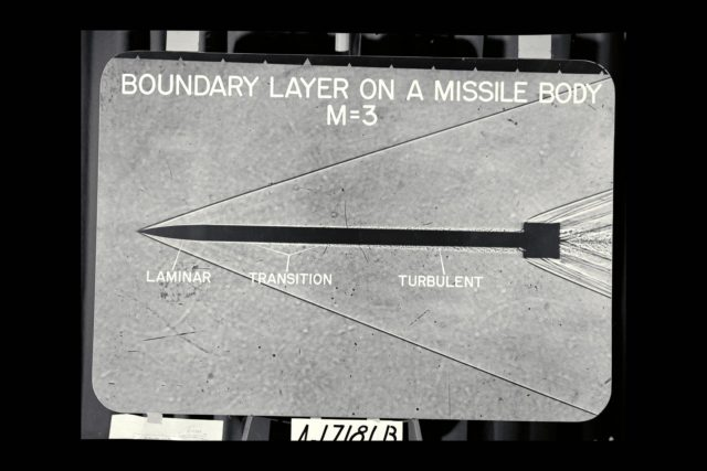 NACA Photographer Shadowgraph: Boundary Layer on Missile body @ M-3 ARC-1952-A-17181B