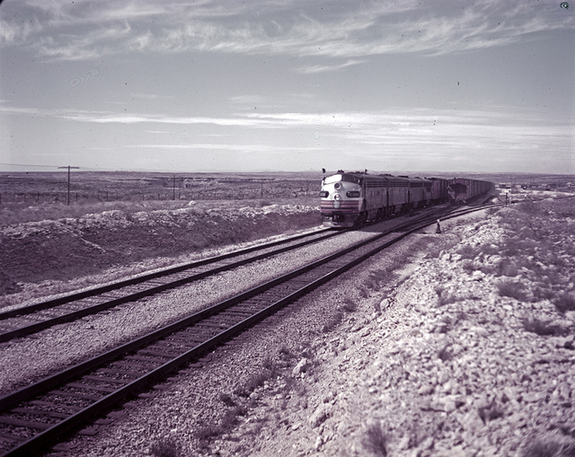 [Diesel Locomotive 346 and Freight Cars, Location of Silver Spike, Southern Pacific Railroad]