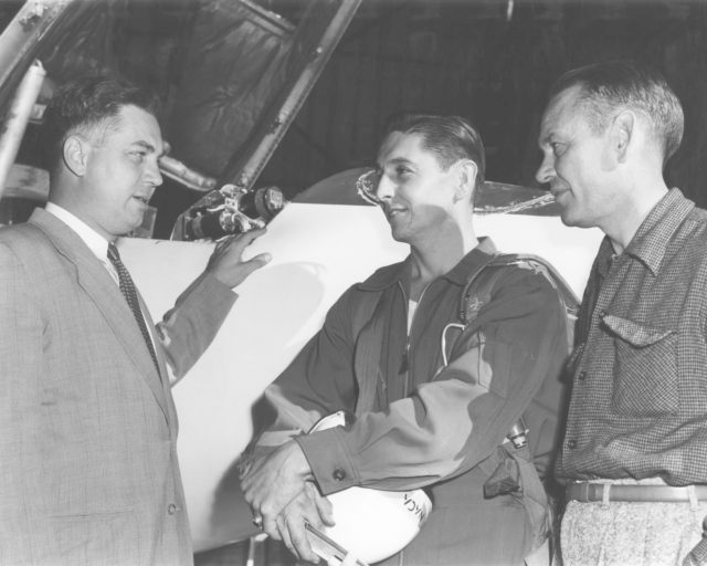 High-Speed Research Station Director Walter C. Williams, NACA pilot A. Scott Crossfield, and Director of Flight Operations Joe Vensel in front of the Douglas D-558-2 after the first Mach 2 flight. E53-1096
