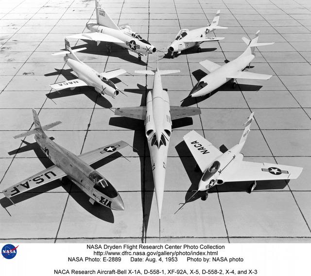 NACA Research Aircraft-Bell X-1A, D-558-1, XF-92A, X-5, D-558-2, X-4, and X-3