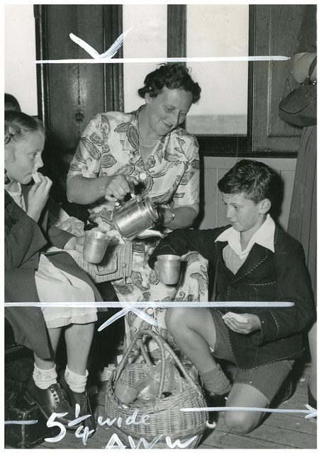 Refreshments on the ocean cruise to Broken Bay, South Steyne, December 1953 / Australian Women's Weekly photograph