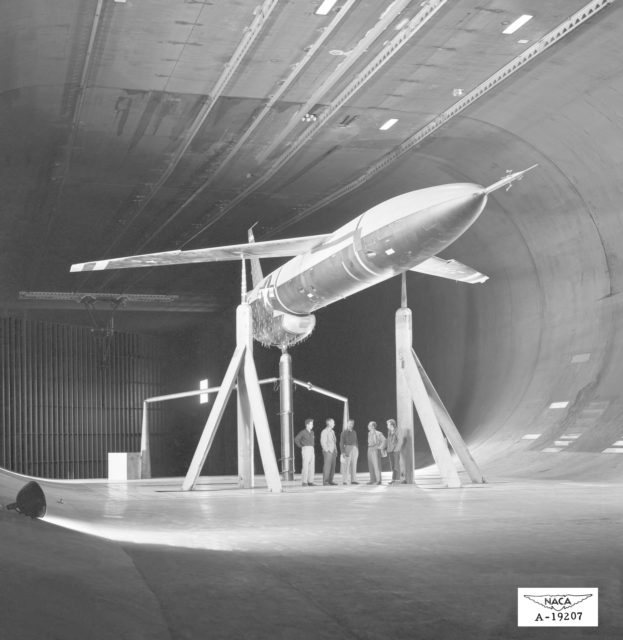 Northrop N-69 Missile in the Ames 40x80 foot Wind Tunnel.