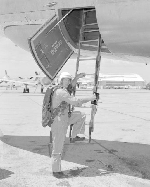 Stan Butchart climbing into B-47. E54-1317