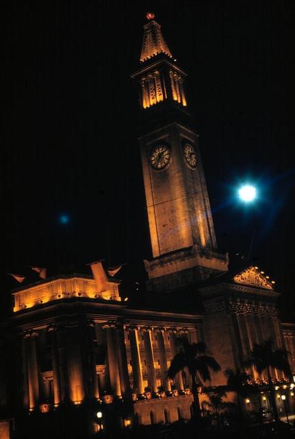 Brisbane City Hall lit by floodlights