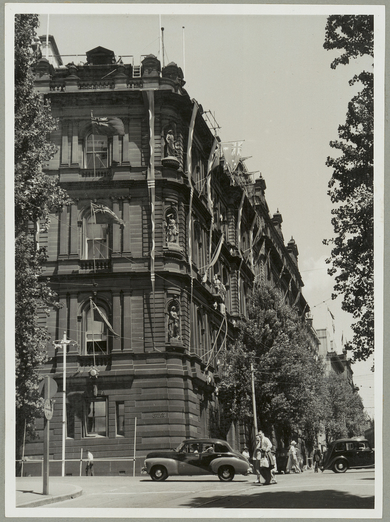 Chief Secretary's building, Sydney decorated for the Royal Visit, 1954