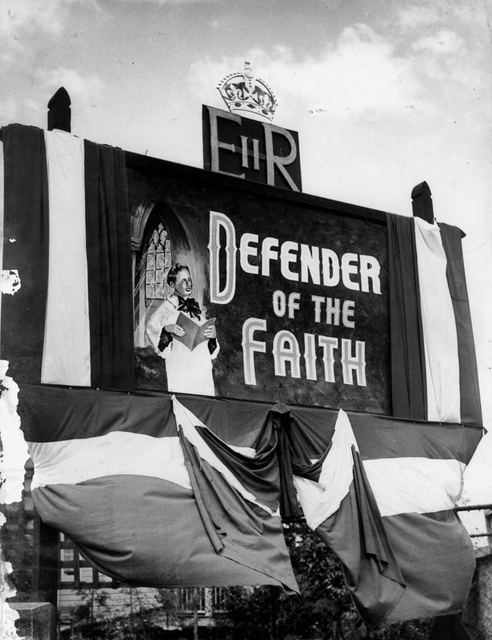 Church decorations in Vulture Street, South Brisbane for the royal visit in 1954