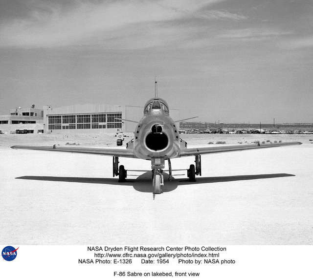 F-86 Sabre on lakebed, front view