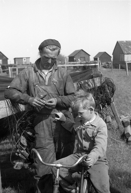 Fisherman and boy in Smygehuk, southernmost point of  Sweden, in 1954