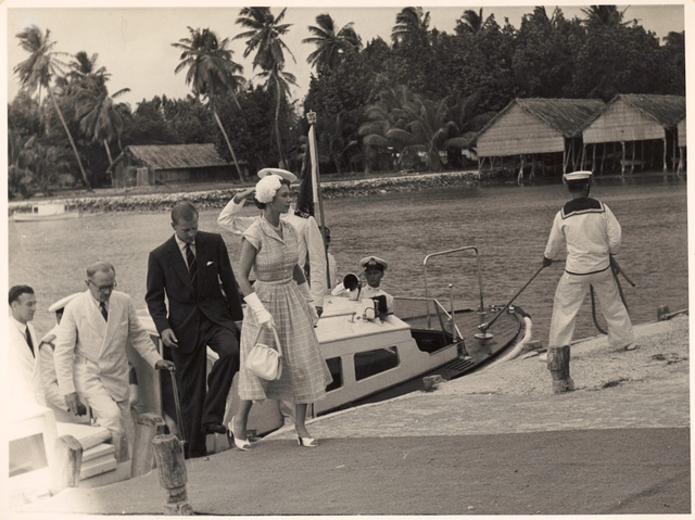 H.M. Queen Elizabeth and Prince Philip arrive at the Cocos Islands, April 1954