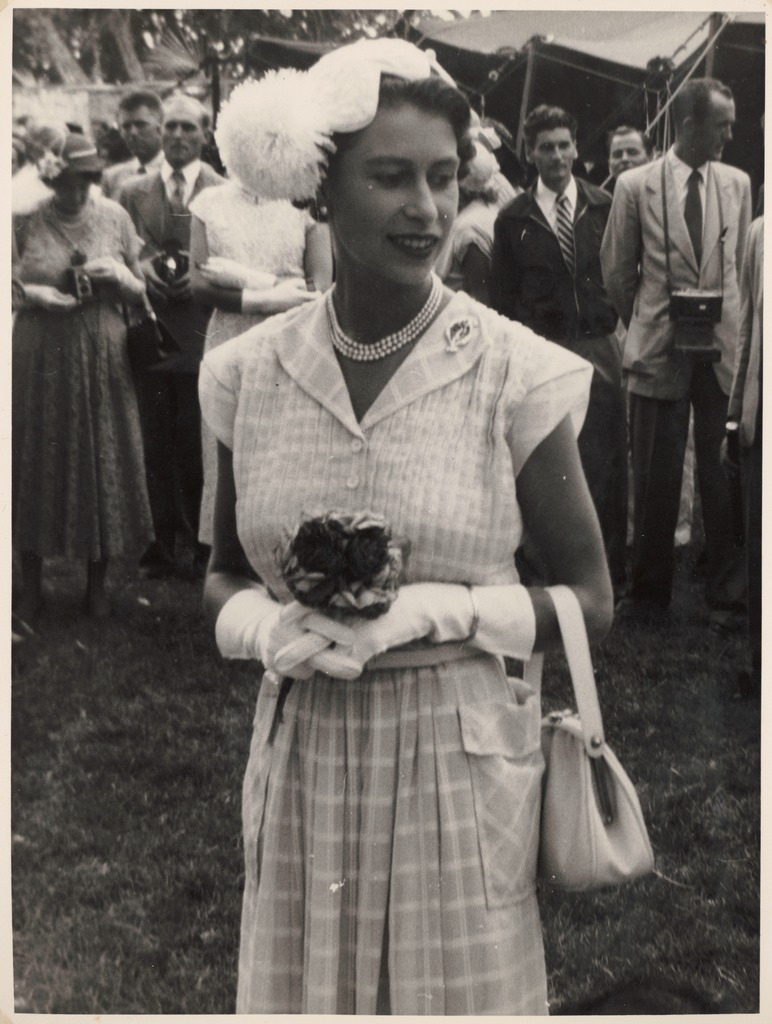 H.M. Queen Elizabeth at a garden party held in her honour at Home Island in the Cocos Islands, April 1954