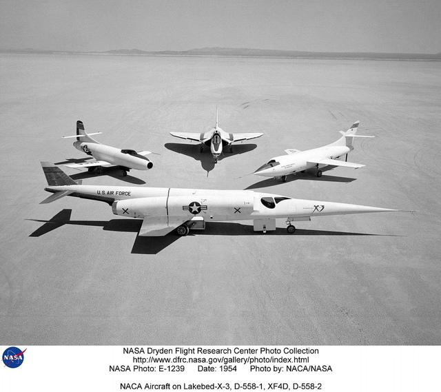 NACA Aircraft on Lakebed-X-3, D-558-1, XF4D, D-558-2