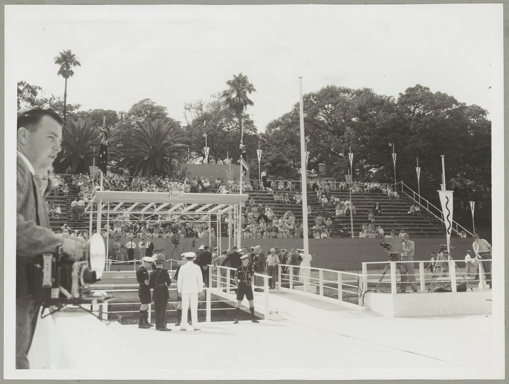 Preparations at Farm Cove for the arrival of Queen Elizabeth II and the Duke of Edinburgh - Royal Visit, 1954