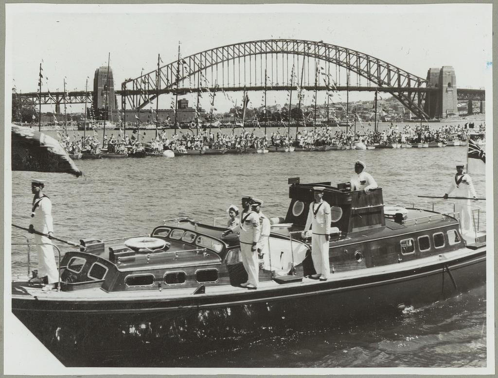 Queen Elizabeth II arriving for the Royal Visit, 1954, Farm Cove, Sydney