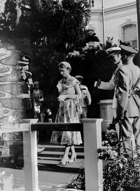 Queen Elizabeth II at Parliament House, Brisbane during her visit in March 1954